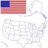 米国のマップ、フラグ — ストックベクタ
