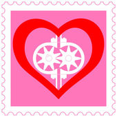 Heart pump on stamp — Stock Vector