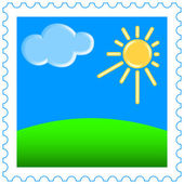 Sun and cloud on  stamp — Stock Vector