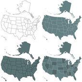 USA map set — Stock Vector