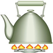 Teapot on gas-stove burne — Stock Vector