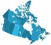 Canada regions map — Stock Vector