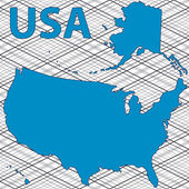 Contour map of the USA — Stock Vector