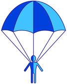 Cartoon flat parachuter icon — Stock Vector