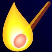 Burning match on dark — Stock Vector