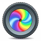 Abstract camera lens icon — Stock Vector