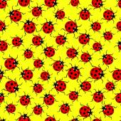 Pattern of red ladybugs — Stock Vector
