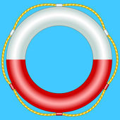 Life buoy on blue background — Stock Vector