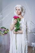 Beautiful white hair woman in fairy white dress — Stock Photo