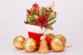 Christmas balls and boot — Zdjęcie stockowe