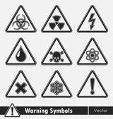 Icon set of warning symbols.  — Stock Vector