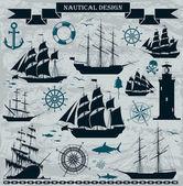 Set of sailing ships — Stock Vector