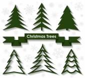 Set of Christmas trees in flat design — Stok Vektör