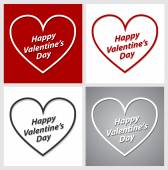 Set of Valentines Day hearts over red, grey and white backgrounds. — Stock Vector