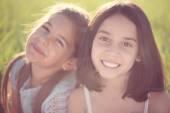 Portrait of two hispanic teen girls — ストック写真