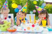 Outdoor birthday party for children — Stock Photo