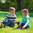 Happy little brother and sister playing — Stock Photo #75937577