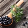 Juniper berries on a wooden background — Stock Photo #63193241