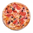 Tasty Italian pizza with ham, tomatoes, and olives — Stock Photo #54734977