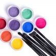 Set of bright matte mineral eye shadows and brushes — Stock fotografie #59523165