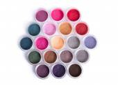 Set of bright mineral eye shadows — Stock Photo
