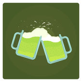 Two beer mugs splashing — Stock Vector