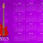 American calendar 2015 with bass guitar — Stock Vector #67871109
