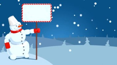 Hd kreslený sněhulák s padající sněhové vločky — Stock video