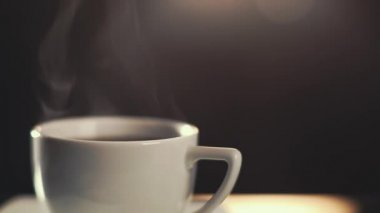 HD video of coffee cup with steam rising — Stock Video