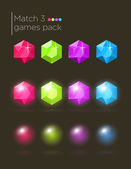 Vector set of gems for casual games — Stock Vector