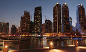 Modern buildings in Dubai Marina at night. UAE — Zdjęcie stockowe