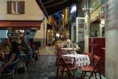 Street in the old town at night in Italy — Stock Photo