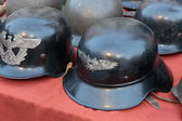 Old German military helmets — Stock Photo