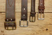 Leather belts with a buckle — Stockfoto