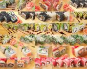 Collage Asian food sushi — Stock Photo