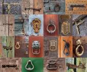 Old vintage door handles and deadbolt, set — Stock Photo
