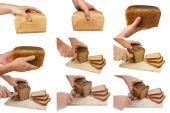 Set bread in hand — Stock Photo