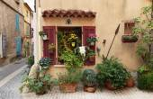 Old French house and potted flowers — Stock Photo