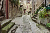 Narrow cobbled street — Stock Photo
