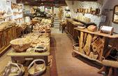 Shop of wooden souvenirs — Stock Photo