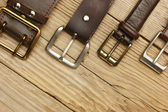 Leather belts with a buckles — Stock Photo