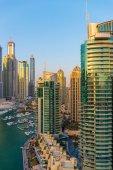 Dubajský přístav za soumraku — Stock fotografie