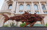 Model sharks  made of rusted parts — Stock Photo