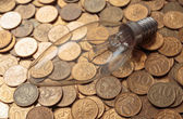 Incandescent lamp on coins — Stock Photo