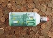 Hundred euros with lamp — Stock Photo