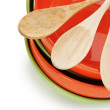 Empty plates and wooden spoons — Stock Photo #62175489