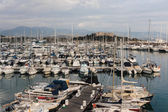General view of the yachts in the harbor — Stock Photo