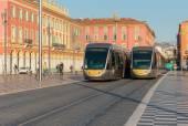 Tram on the Place Massena — 图库照片