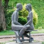 Statue young couple, Castle University — Stock Photo #65060621
