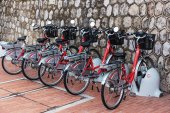 Electric bicycles in the parking lot — ストック写真